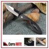 "3.75"" hot knife (mirror polished ceramic blade with Carbon Fiber handle Titanium coated liner)"