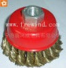 "3"" twisted knot wire bowl brush with nut"