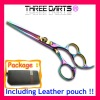 "6.0"" ThreeDarts rainbow color hair dressing scissors / shears"