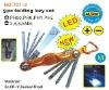 9pc folding torx hex key set with led light
