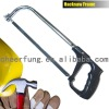 ADJUSTABLE HACKSAW FRAME WITH BLACK ALUMINUM HANDLE AND CP ROUND TUBE