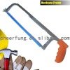 ADJUSTABLE HACKSAW FRAME WITH FLAT STEEL TUBE AND PLASTIC HANDLE