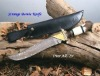 CUSTOM HANDMADE DAMASCUS BLADE HUNTING KNIFE + CROWN
