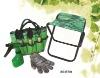 Folding Seat Polyester Tote & 8 Pc Garden Tools Set