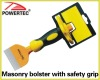 Masonry bolster with safety grip
