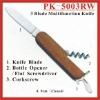 (PK-5003RW) 3 Fold Rosewood Multipurpose Pocket Knife Swiss Knife