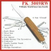 (PK-5009RW) 9 Fold Rosewood Multipurpose Pocket Knife Swiss Knife