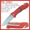 (PK-53811) 4.5 inch Red G-10 Handle Rescue Folding Pocket Knife