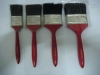 red wooden handle and pure black china bristle paint brush