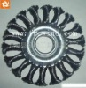 wide face wheel brush with knot wire