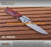 wooden handle camping folding knife with flashlight